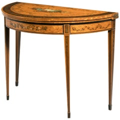 18th Century Satinwood Demilune Card Table