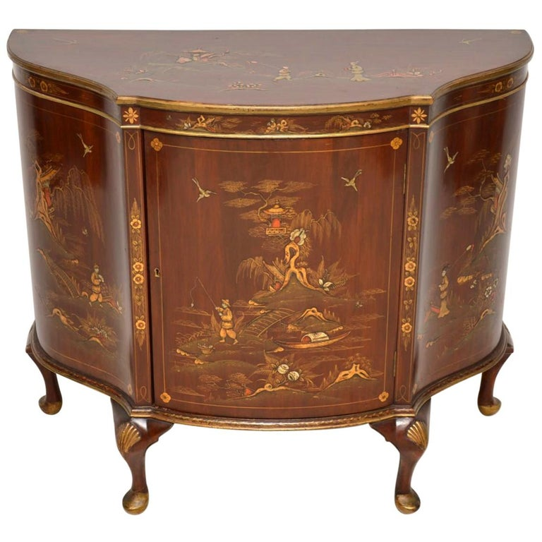 Antique Chinoiserie and Mahogany Side Cabinet For Sale - Antique Chinoiserie And Mahogany Side Cabinet For Sale At 1stdibs