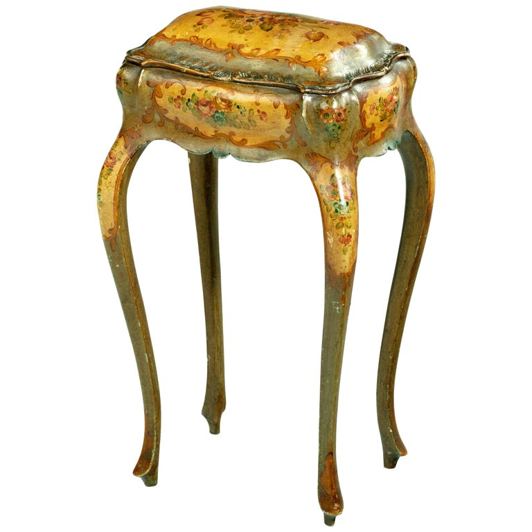 Painted Ladies Sewing Table of Exaggerated Bombay Form For Sale