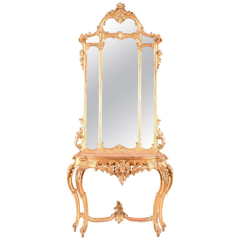 Italian Giltwood Console Table with Mirror, 19th Century