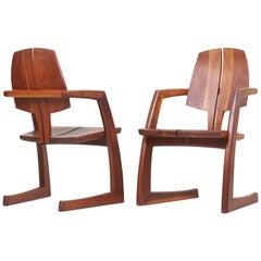Pair of Wooden Studio Armchairs by H. Wayne Raab, US, 1970s