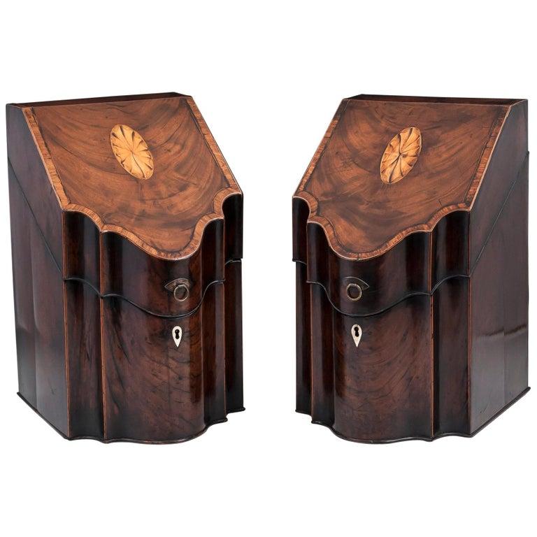 Georgian Flame Mahogany Cutlery Boxes 18th Century