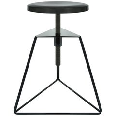 The Camp Stool, Black and Charcoal, Adjustable Height Low Stool