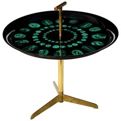Piero Fornasetti Tripod and Brass Serving Table, 1950s