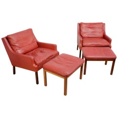 Danish Lounge Chairs in Red Leather with Stools