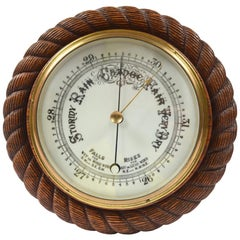 Barometer Made in the Late 19th Century of Oakwood Carved like a Rope