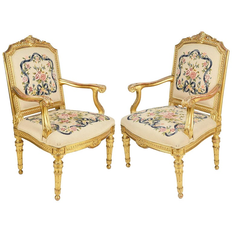 Pair of 19th Century Louis XVI Style Salon Chairs