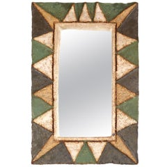 Ceramic Rectangular Mirror by Les Argonautes, Vallauris, France, 1950s