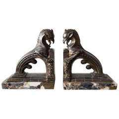 Pair of French Art Deco Bookends with Mythical Animals