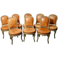 Maison Jansen Transition Style Leather-Upholstered Chairs, Set of Eight