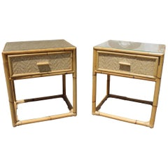 1980s Pair of Spanish Bamboo and Rattan Bedside Tables
