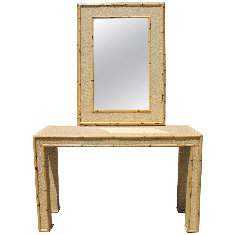 1980s Bamboo and Rattan Console Table with Mirror Set For Sale