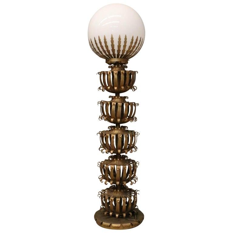 Maison Jansen Palm Globe Floor Lamp, 1970s