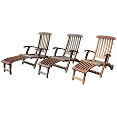 1980s Set of three English Teak Wood Loungers