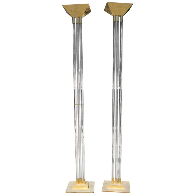 1970s Pair of Italian Gilded Brass and Methacrylate Floor Lamps
