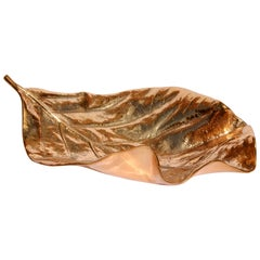 Large Cast Bronze Leaf Decorative Object / Bowl