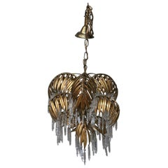 Rare Maison Jansen Palm Tree Chandelier with Glass Cones and Palm Leaves