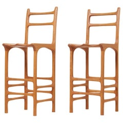 Pair of Tall Back Studio Bar Stools, US, 1970s