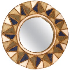 Round Ceramic Mirror by Les Argonautes, Vallauris, France, 1950s