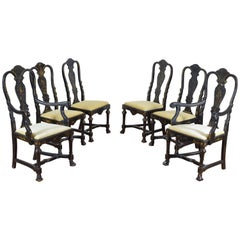Set of 6 Queen Anne Style Chinoiserie Painted Dining Chairs, turn of 20th cen.