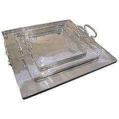 Italian Set Of Three Square Aluminum Trays With Handles, Contemporary