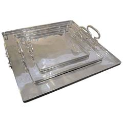 Italian Set Of Three Square Aluminum Trays With Handles, Contemporary