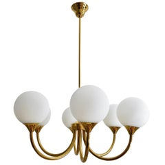 German Brass Chandelier with Opaline Glasses, 1970