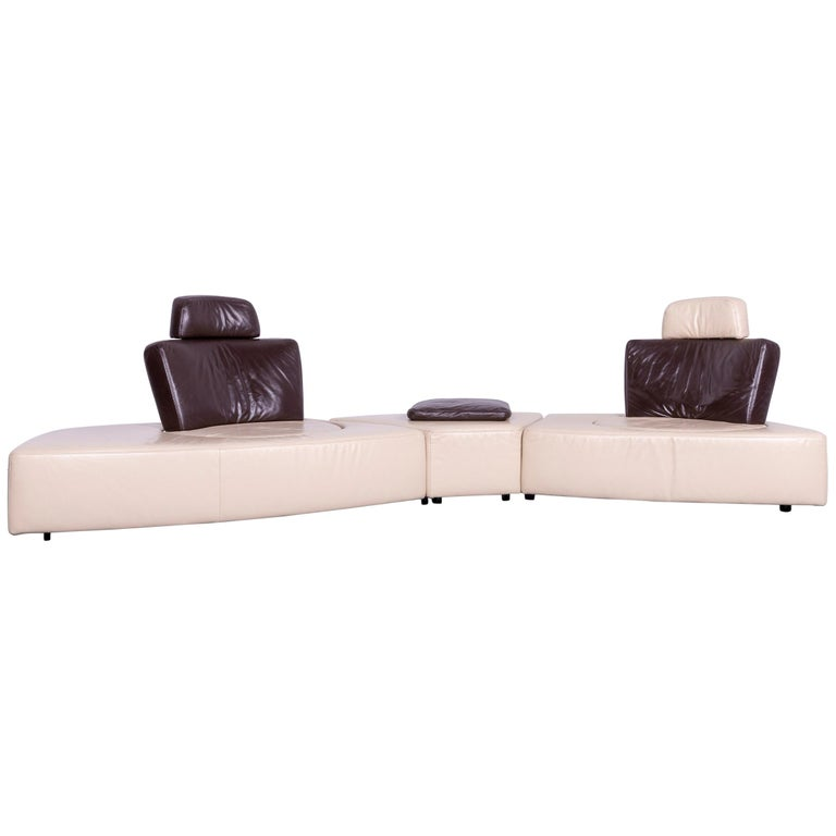 Koinor Leather Corner Sofa Off-White / Brown Four-Seat Function