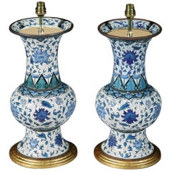 Pair of 19th Century French Cloisonné Iznik Style Vases Now Mounted as Lamps