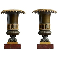 Pair of French Early 19th Century Restauration Gothic Revival Bronze Urns Vases