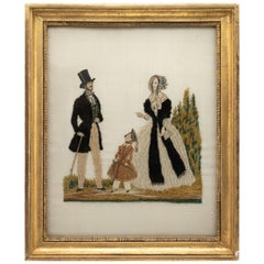 19th Century Embroidery of a Couple and Child