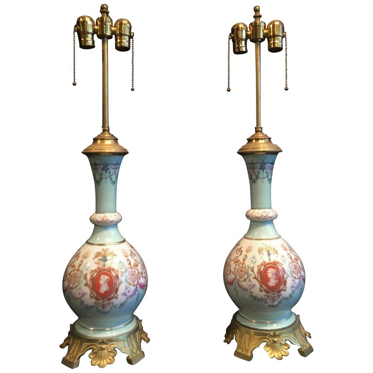 Pair of Neoclassical Porcelain Lamps For Sale