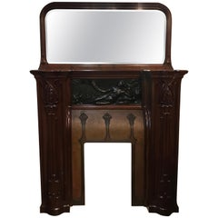 19th Century French Art Nouveau Fireplace Mantle with Mirror