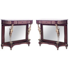 Pair of French Louis XVI Style Mahogany and Satinwood Console Tables