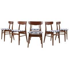 Set of Six Teak Chairs Denmark, 1960