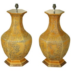 Pair of Large Scale Chinese Imperial Yellow Vases Now Mounted as Lamps