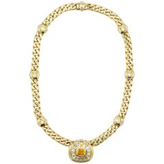 Yellow Sapphire, Diamond and 18 Carat Yellow Gold Necklace