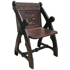 Architectural Gothic Revival Oak Glastonbury Chair in the Style of E W Pugin
