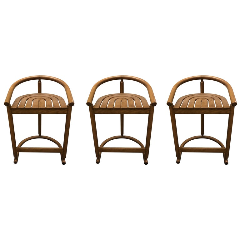 Set of Three Midcentury Bar Stools For Sale