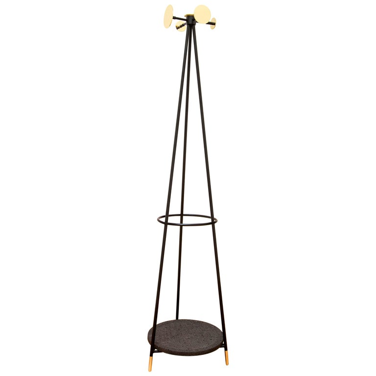 Coat and Umbrella Stand Set of 2 with Brass & Stone, Contemporary Mexican Design