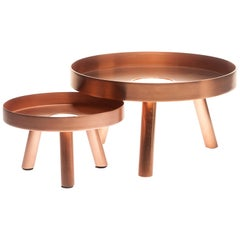 Pair of Contemporary Copper Serving Trays Decorative Sculpture, in Stock