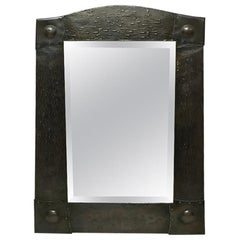 Liberty & Co. an Arts & Crafts 'A' Framed Hand-Hammered Copper Wall Mirror