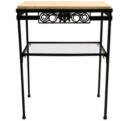 French Wrought Iron and Stone Console or Nightstand, Edgar Brandt