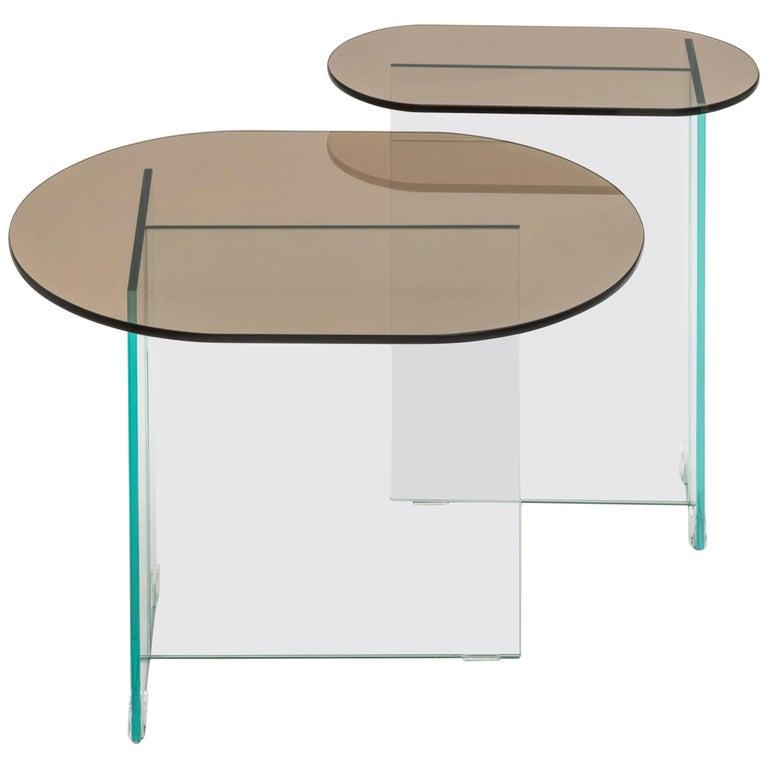 Vetro Dark Bronze Side Table For Sale