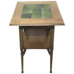 Shapland & Petter an Arts & Crafts Green Tile Top Plant Stand or Side Table