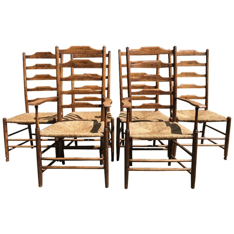 Philip Clissett, a Set of Six Arts & Crafts Ash Ladder Back Rush Seated Chairs
