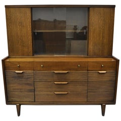 Vintage Mid-Century Modern Walnut China Cabinet Hutch Buffet Bookcase by Century