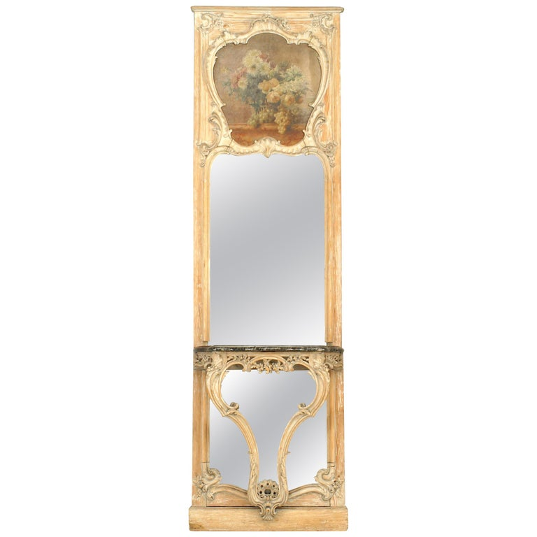 French Louis Xv Style 19th Century Console Table And Mirror