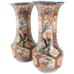 Rare Pair of Imari Porcelain Vases with Polychrome Decor, Japan, 19th Century