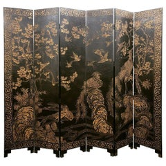 Spectacular French Midcentury Gilt Lacquer Chinoiserie Screen